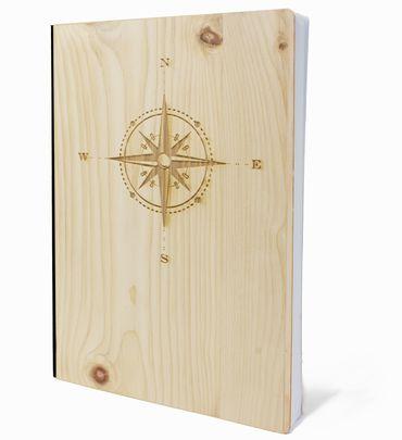 Notizbuch mit Holz Cover in A5 - KOMPASS - Echtholz Notebook zum Reinschreiben Zirbenholz Holzeinband 192 blanko Seiten 90g