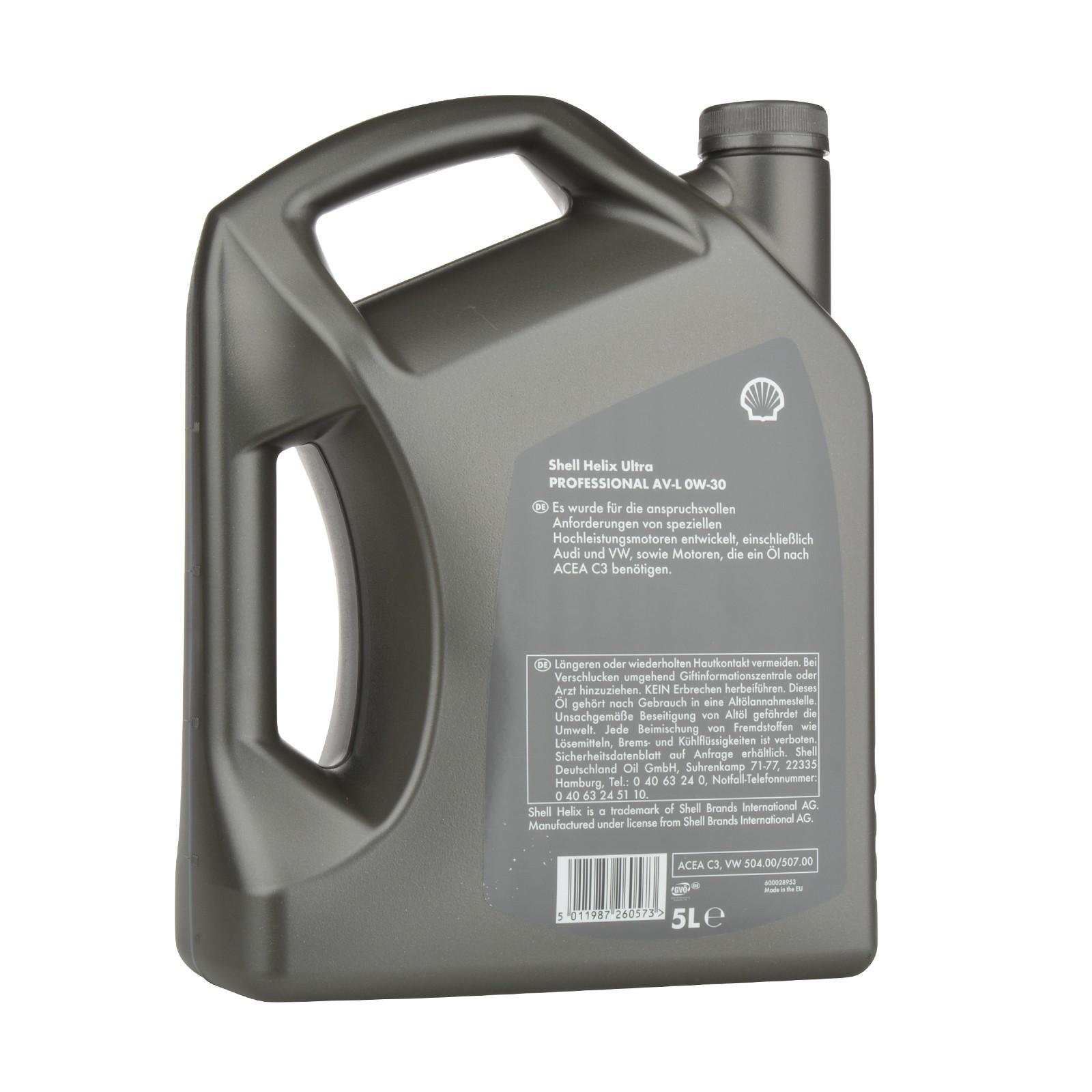 Shell Helix Ultra Professional AV-L 0W-30 - 5 Liter – Bild 2