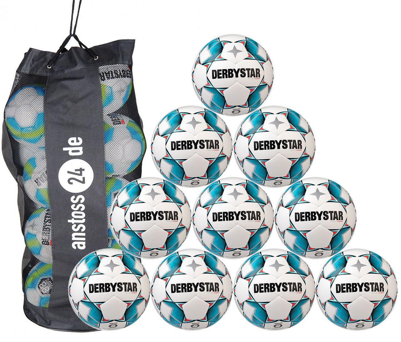 10 x DERBYSTAR Jugendball - BRILLANT S-LIGHT Dual Bonded inkl. Ballsack