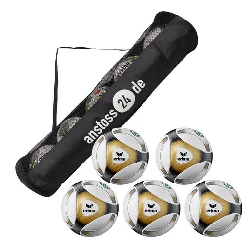 5 x erima Hybrid Match 2019 Spielball inkl. Ballschlauch