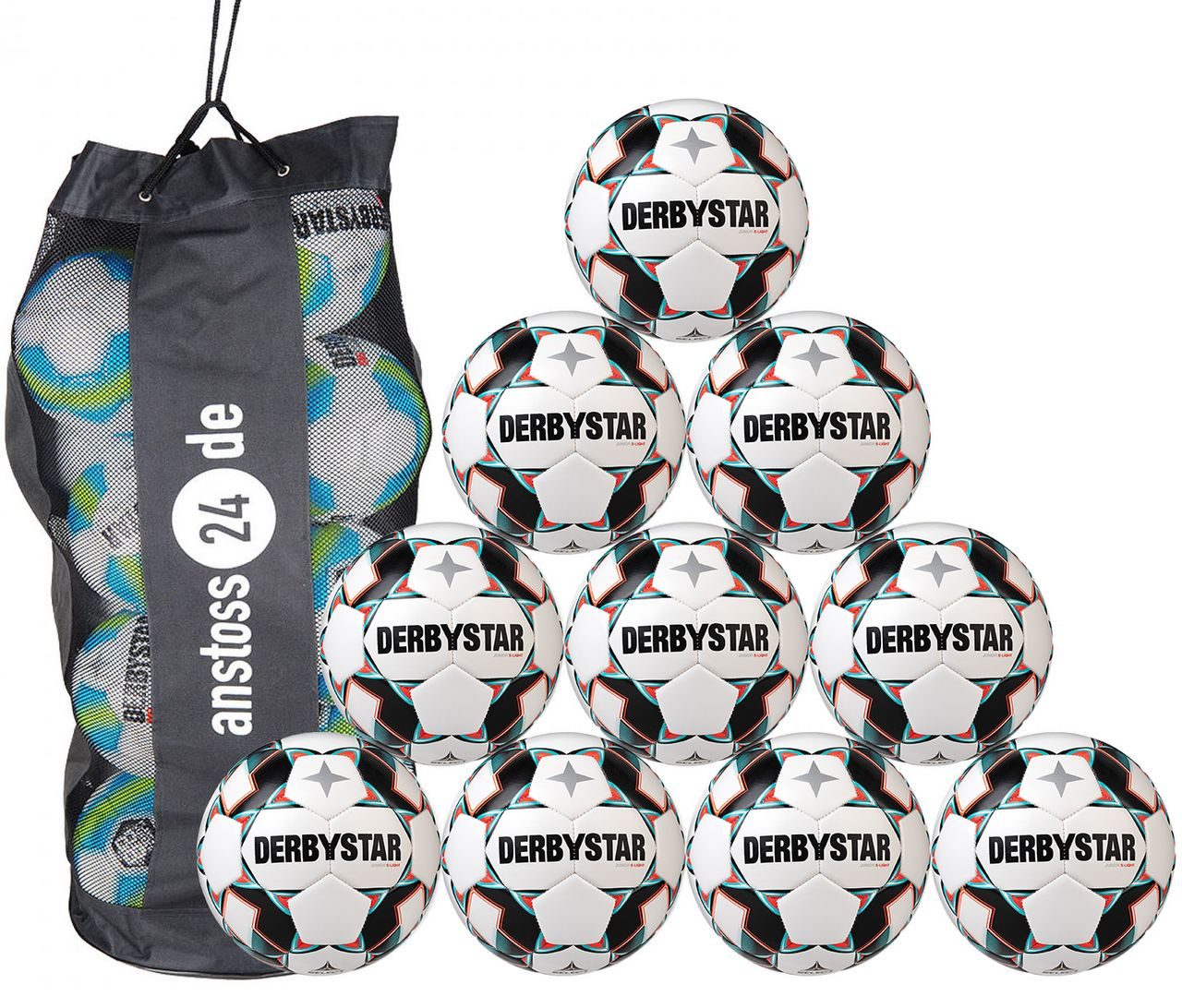 10 x DERBYSTAR Youth Ball - JUNIOR S-LIGHT incl. ball bag