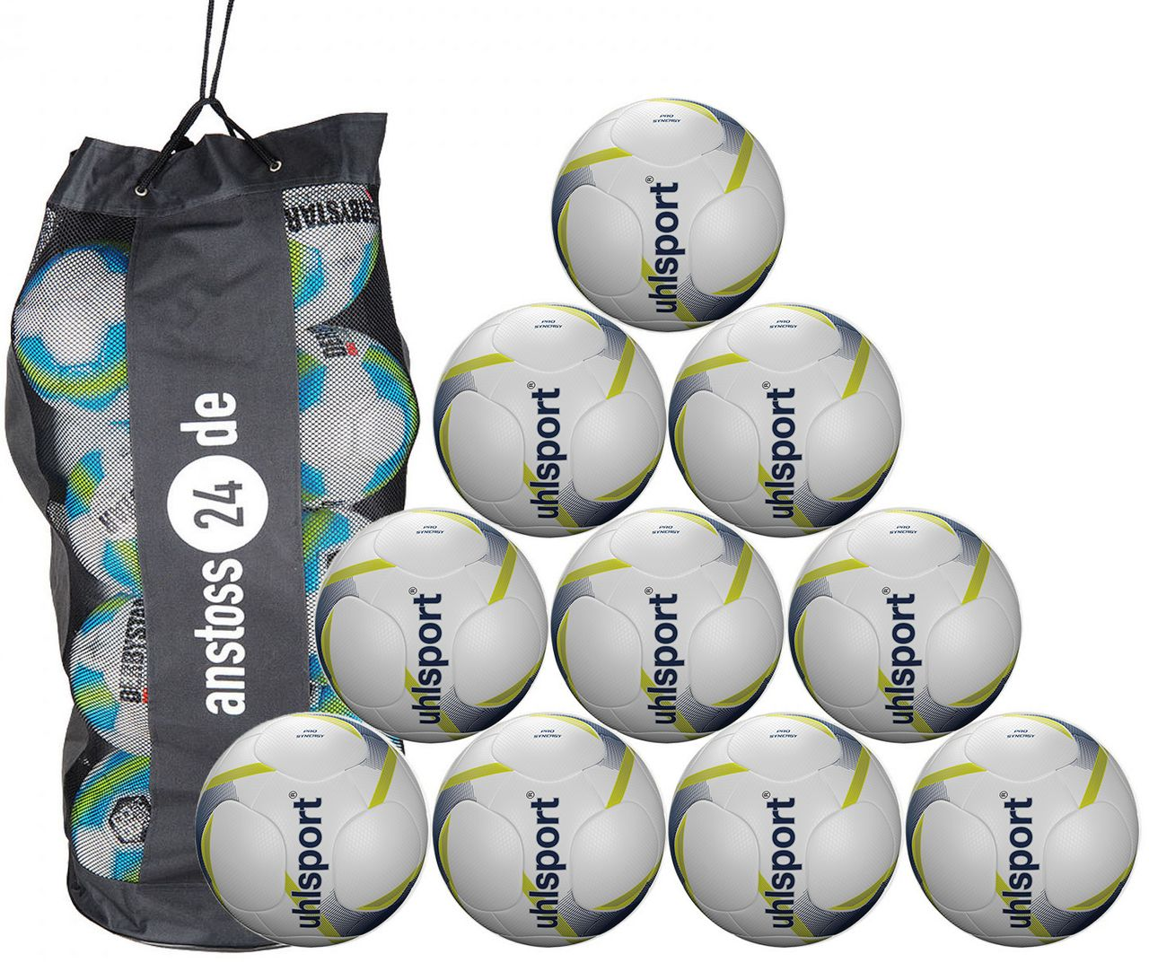 10 x Uhlsport Trainingsball PRO SYNERGY inkl. Ballsack