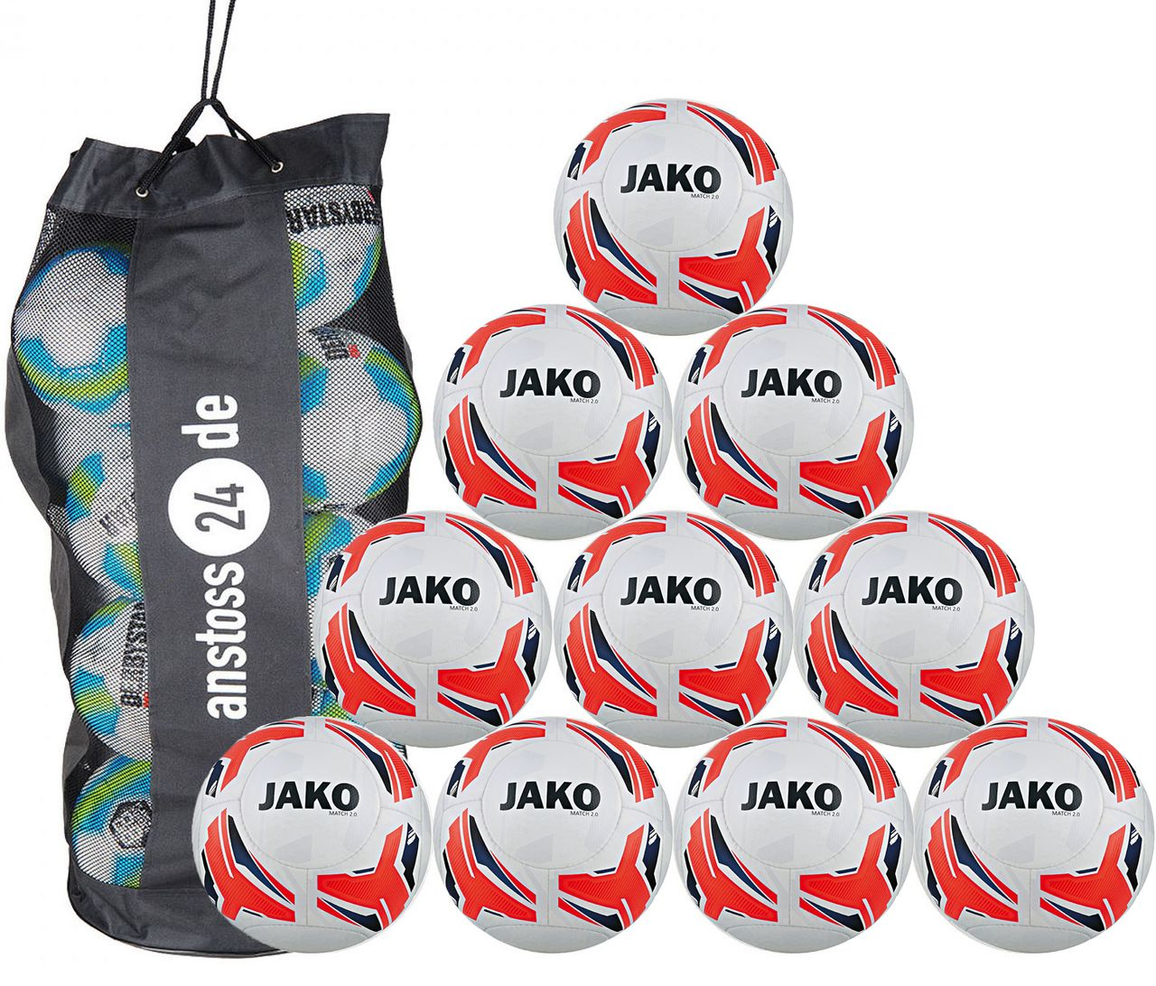 10 x JAKO Training Ball Match 2.0 incl. ball sack