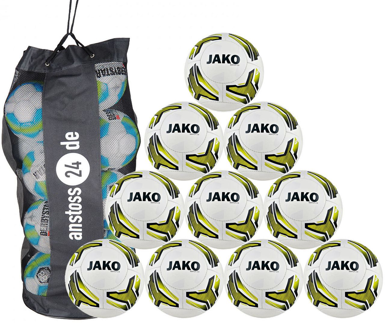 10 x JAKO Youth Ball Match 2.0 incl. ball bag