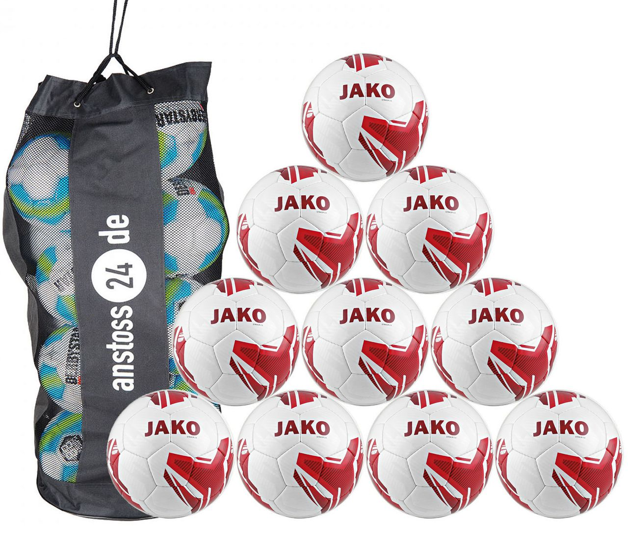 10 x JAKO Trainingsball Striker 2.0 inkl. Ballsack