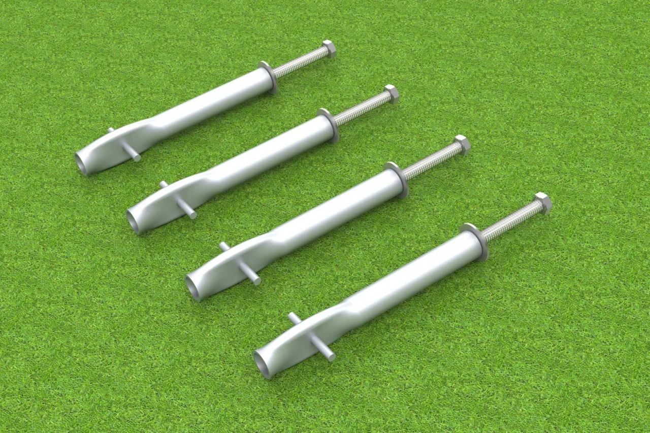 4 Stück Erdanker zum einbetonieren mit Edelstahlschraube und Gewindehülse - Kippsicherung