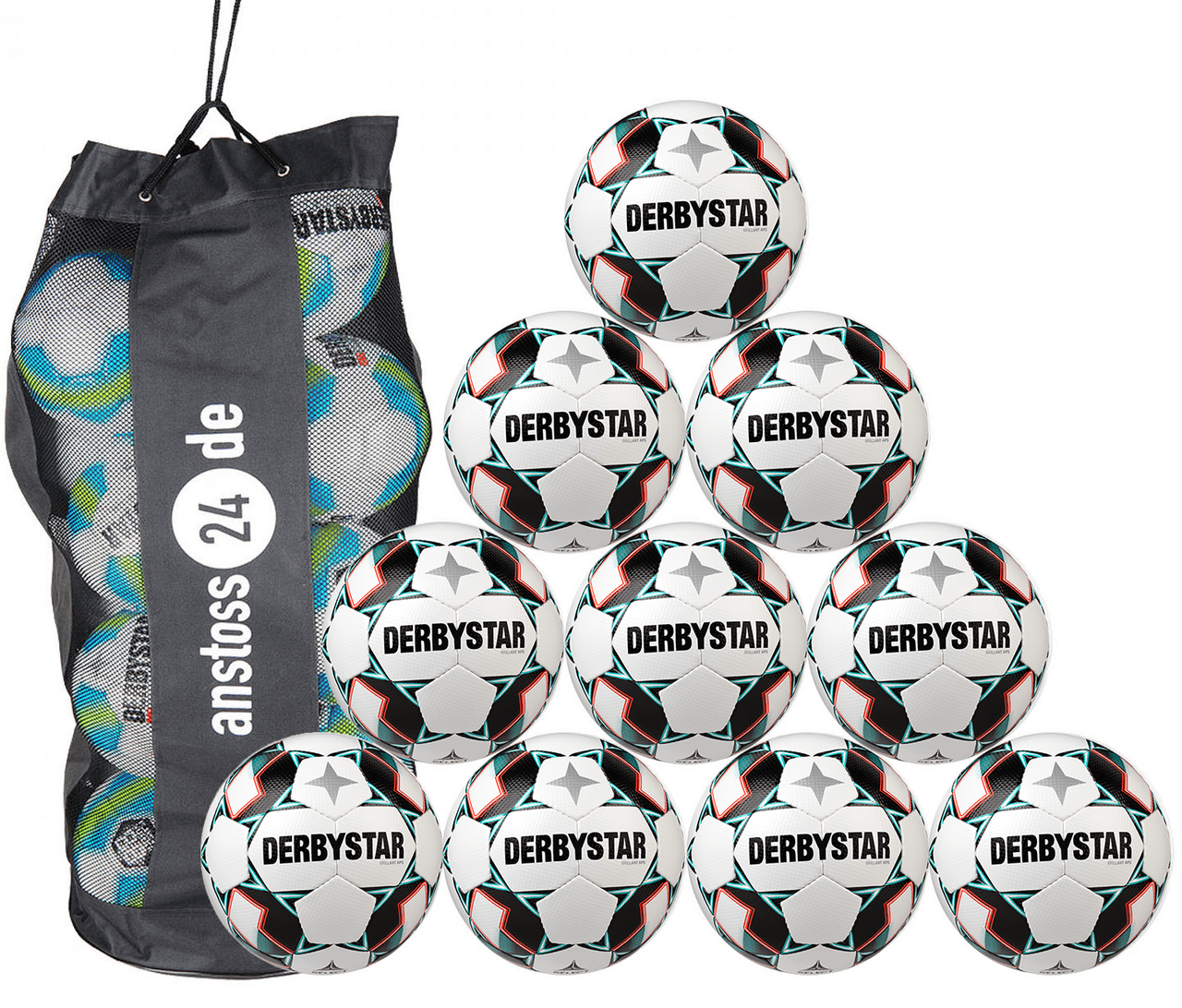 10 x DERBYSTAR match ball - BRILLANT APS incl. ball sack
