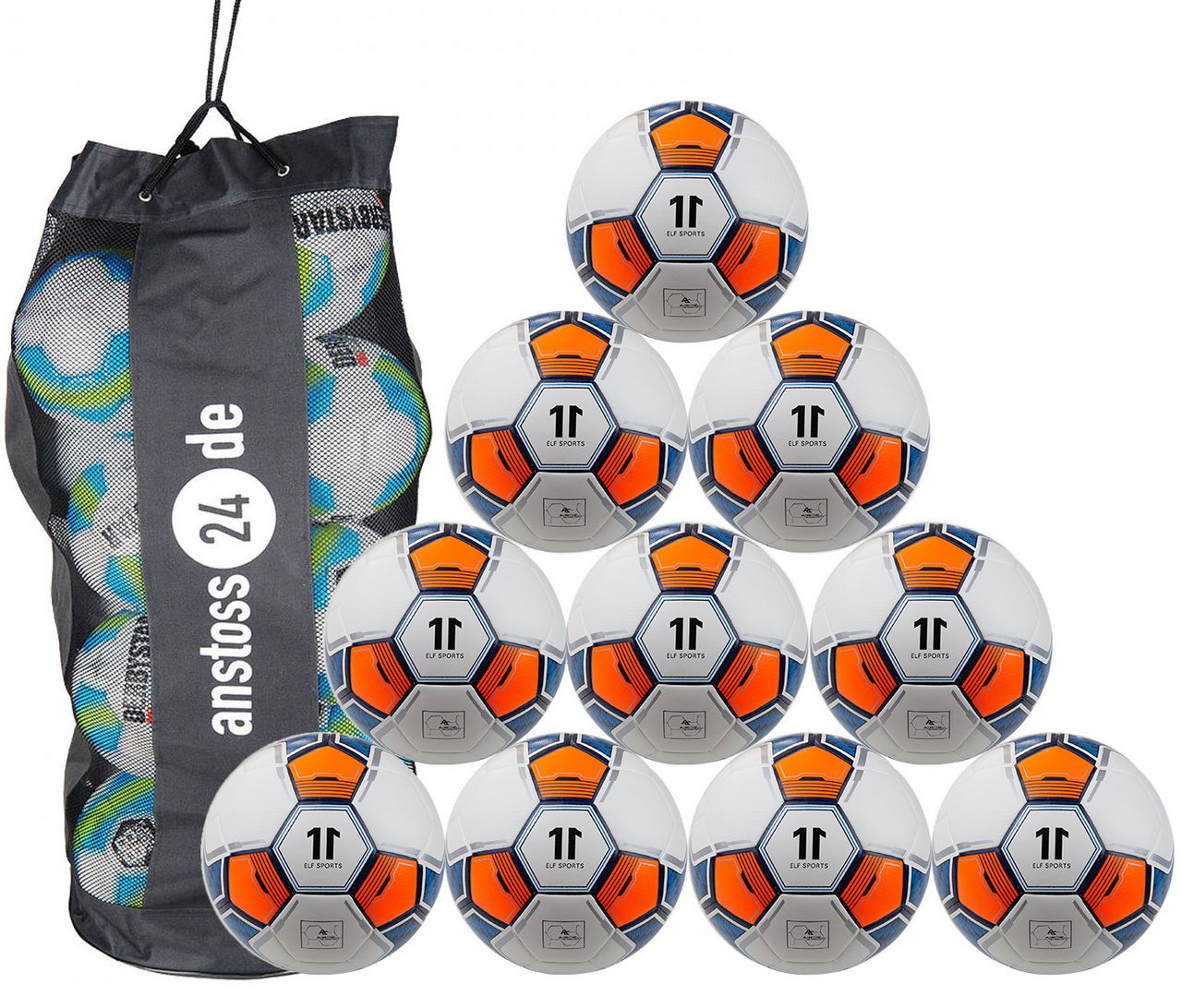 10 x ELF Sports Training Ball - Hybrid Premium - Football with structured surface - incl. ball sack