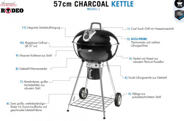 Napoleon Holzkohle Kugelgrill Rodeo Kettle (57 cm Durchmesser) – Bild 10