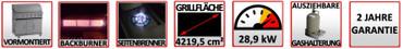 Coobinox Gasgrill JUMBO - 6 Brenner + Backburner + Seitenbrenner – Bild 5