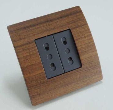 ORGON Holz Rahmen Nuss 1-fach 2 x Euro Steckdose schwarz -#8871