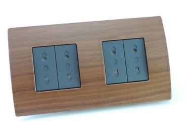 ORGON Holz Rahmen Nuss 2-fach 4 x Euro Steckdose schwarz -#8872