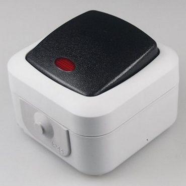 Feuchtraum IP44 Kontroll-Schalter 10A inkl. Rahmen -#1213