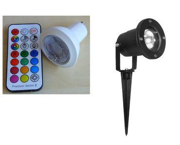 Gartenspot LED RGBWW Strahler +FB +Timer 1-er SET / schwarz RGBWW  -#2221 – Bild 1