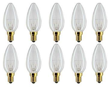 Glühlampe Glühbirne Kerze 40 Watt E-14 klar 10 Stück -#2843 – Bild 1