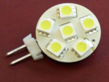 LED G-4 Lampe Flat 6-SMD 12 Volt kaltweiss -#4132 – Bild 1