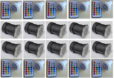 Bodeneinbau LED RGB warmweiss Strahler +Fernbed. +Timer 10-er SET / rund -#4506 – Bild 1