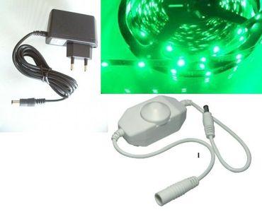 LED 1 m Streifen SET grün mit Dimmer + Stecker Netzteil -#4955 – Bild 1