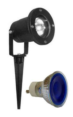 Gartenspot LED blau 7 Watt 230 Volt mit Sockel GU-10 1-er SET -#5487 – Bild 1