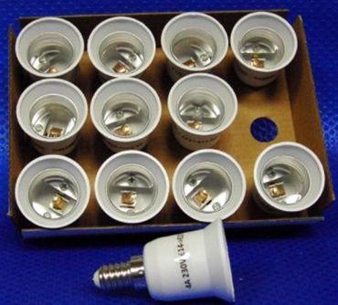 Adapter von E14 auf Sockel E27 12er Pack -#5607