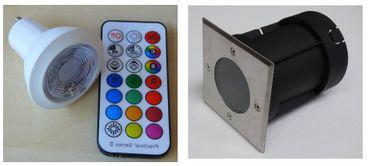 Bodeneinbau LED RGB +kalt weiß Strahler +Fernbedienung +Timer 1-er SET -#6365 – Bild 1