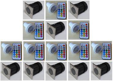 Bodeneinbau LED RGB +kaltweiss Strahler +Fernbed. +Timer 8-er SET eckig -#6368 – Bild 1