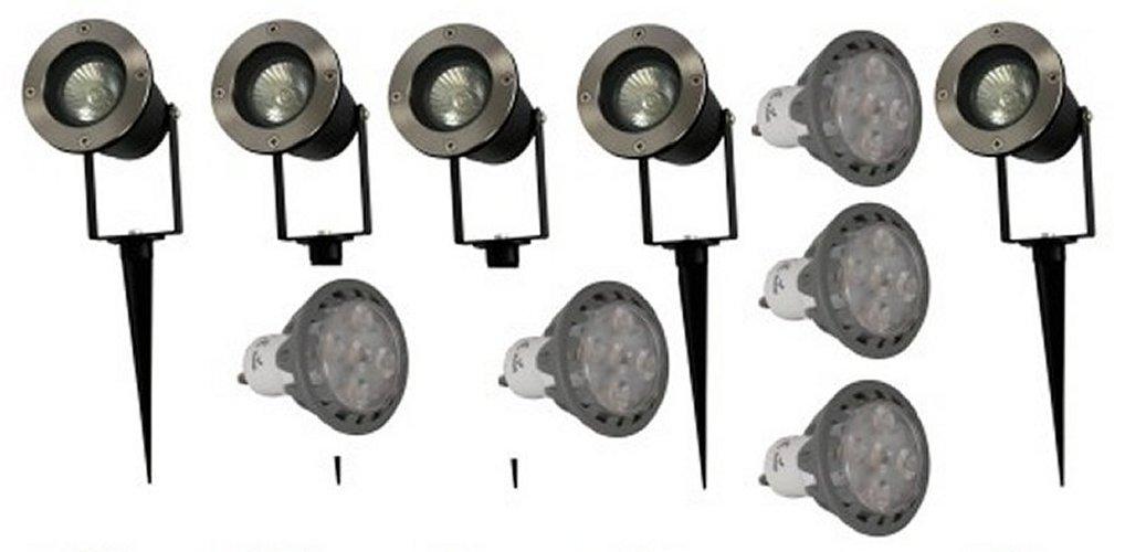 LED Gartenspot 6 Watt 430 Lumen Erdspieß 230V warmweiss 10erPack .#6383