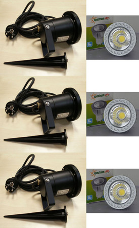 LED Gartenspot 6 Watt 420 Lumen kaltweiss 230 Volt Erdspiess 3-er Pack -#6377 – Bild 1