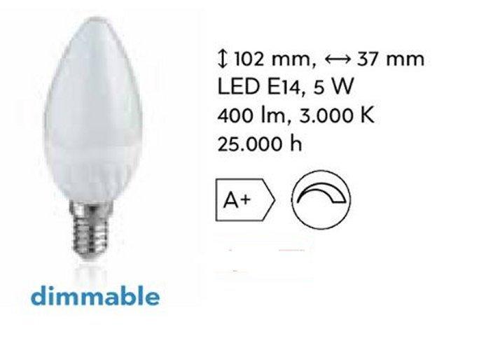 LED Dimmbare Kerze 5 Watt 400 Lumen Sockel E 14 /  #6749