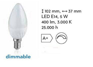 LED dimmbare Kerze 5 Watt 400 Lumen Sockel E-14 / -#6749 – Bild 1