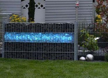 Gabionen Leuchte LED 360 Grad 1,40 m blau -#6885 – Bild 1