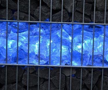 Gabionen Leuchte LED 360 Grad 1,20m 2er SET blau -#7088 – Bild 1
