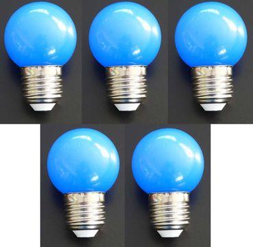 LED Tropfen Lampe 1 Watt blau Sockel E-27 5-er SET -#7360 – Bild 1