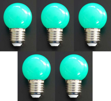 LED Tropfen Lampe 1 Watt grün Sockel E-27 5-er SET -#7363 – Bild 1