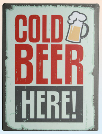 RETRO Metallschild 30 x 40cm Cold Beer Here! -#7383
