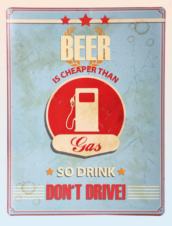 Metallschild 30 x 40cm RETRO Beer dont Drive -#7384