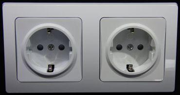 DELPHI 2x Steckdose inklusive Rahmen weiss Elektro Dose Stecker Kupplung -#7389