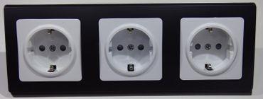 DELPHI 3x Steckdose inklusive Rahmen schwarz Elektro Dose Stecker Kupplung -#7467