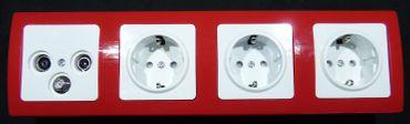 DELPHI 1 x Antennendose 3 x Steckdose Rahmen rot Elektro Dose Stecker Kupplung -#7489