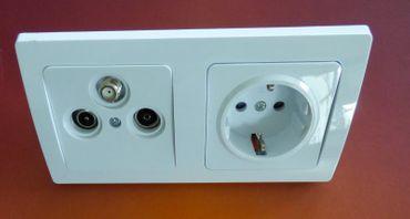 DELPHI 1x Steckdose 1x Antennendose weiss Elektro Dose Stecker Kupplung -#7523