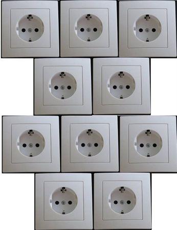 Levina Kunststoff Pack Steckdose weiß 250 Volt 16 Ampere 10-er Pack -#7816