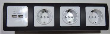 DELPHI 1 x Doppel USB Dose 3 x Steckdose schwarz Elektro Stecker -#7962