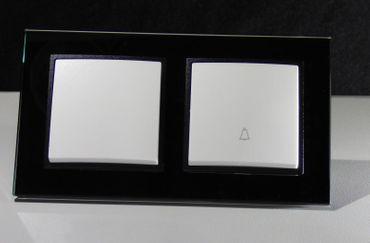 Abelka Nuovo schwarz GLAS 1x Wechsel 1xTaster -#7966