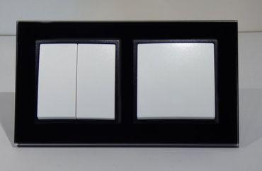Abelka Nuovo schwarz GLAS Wechsel- + Serienschalter -#7972