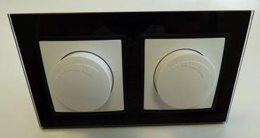 Abelka Nuovo schwarz GLAS 2 x Dimmer 20-300 Watt -#7984