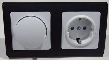 DELPHI 1x LED Dimmer 1 x Steckdose schwarz Elektro Dose Stecker Kupplung -#8004