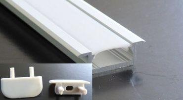 ALU Profil 2 m x 16 mm Unterputz Milchige Abdeckung Befestigungsklips und Endkappen -#8046
