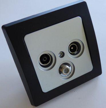 DELPHI Antennendose silbern mit Rahmen schwarz Elektro Dose Stecker Kupplung -#8055