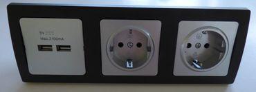 DELPHI 1x USB 2er 2x Steckd. Silbern Rahmen schw. Elektro Dose Stecker Kupplung -#8082
