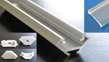 ALU Profil 16 mm x 1 m 45 Grad Transparente Abdeckung Endkappen Befestigung -#8103